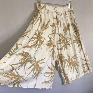 Vintage 80s Palm Print Cotton Coulottes High Waist